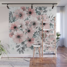 Flower Watercolor, Blush Pink and Gray, Floral Prints Wall Mural