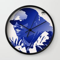stevie nicks Wall Clocks featuring STEVIE WONDER by KEVIN CURTIS BARR'S ART OF FAMOUS FACES
