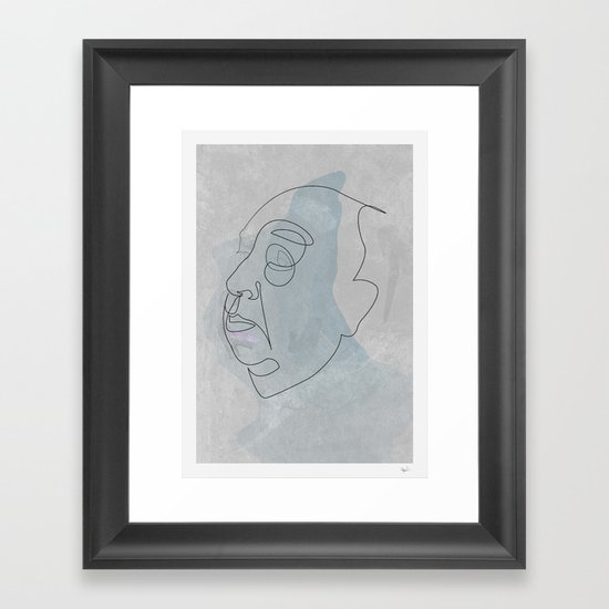 One line Hitchcok Framed Art Print