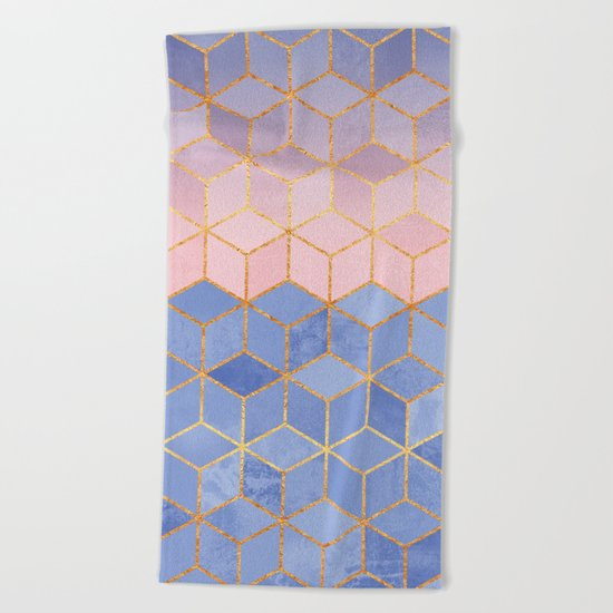 Rose Quartz & Serenity Cubes Beach Towel