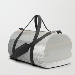 Silver sea boat and seagull seascape Duffle Bag