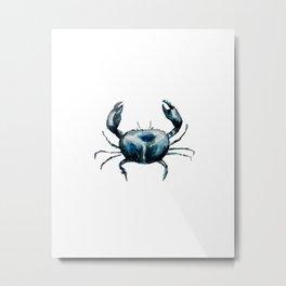 crab -watercolor Metal Print