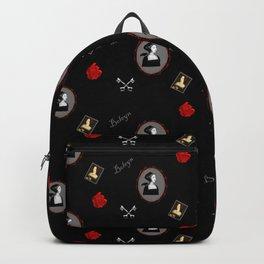 Anne Boleyn red on black roses keys Backpack