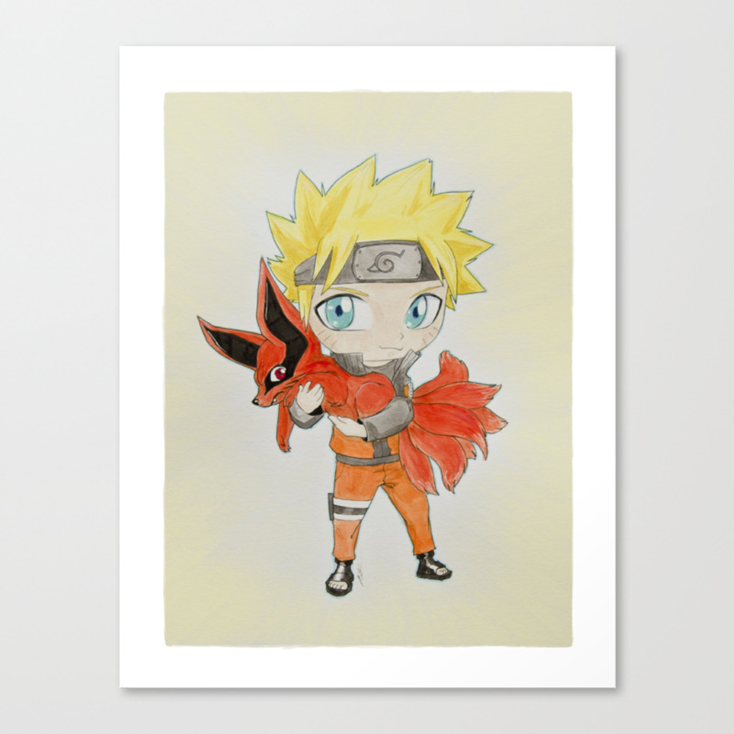 0 Tails Naruto young naruto and nine tails canvas print