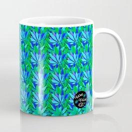 Cannabis Print Green and Blue Coffee Mug