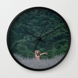 Blurry Greens Wall Clock