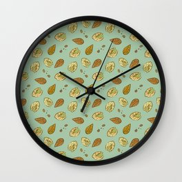 Nuts Almonds and Pistachios pattern Wall Clock