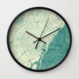 Barcelona Map Blue Vintage Wall Clock