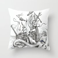kraken Throw Pillows featuring Kraken by Incirrina
