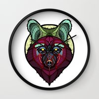 coyote Wall Clocks featuring Coyote by Graham Diehl