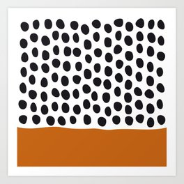 Classy Handpainted Polka Dots with Autumn Maple Art Print