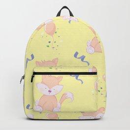 Happy Birthday Orange Fox on Yellow Background Pattern Backpack