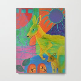 Whimsical Kangaroo with Joey Yellow Turquoise Red Blue Purple Australia Metal Print
