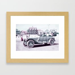 Winton Touring car with the wealth Autry Family of Texas on vacation at a resort beach int he East C Framed Art Print