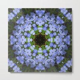 Blue Plumbago Kaleidoscope 11 Metal Print
