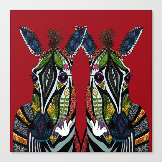 zebra love red Canvas Print