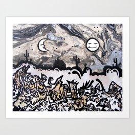 Sun & Moon on Gobbledegook Art Print