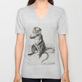 Sitting monkey eating a fruit by Jean Bernard (1775-1883) Unisex V-Neck
