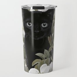 Cat With Flowers Travel Mug
