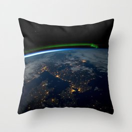 Northern Lights over Scandinavia at Night from Orbit of Earth Throw Pillow