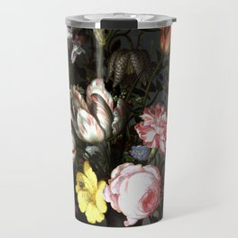 Flowers In A Vase With Shells And Insects Travel Mug