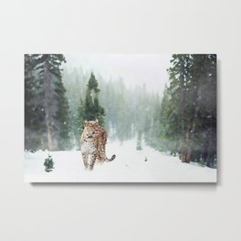 Leopard Running on Snow Metal Print