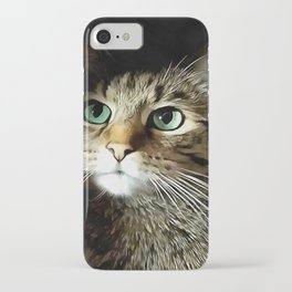 Tabby Cat With Green Eyes Isolated On Black iPhone Case