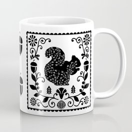 Woodland Folk Black And White Squirrel Tile Coffee Mug