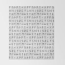 Futhark full runic print (Viking runes) white version Throw Blanket