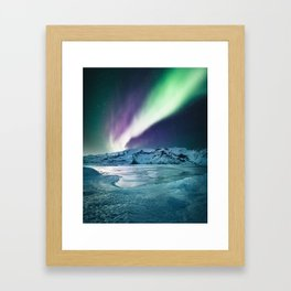 aurora in iceland Framed Art Print
