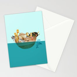 Noahs Ark with Animals– Illustration for the childrens room of girls and boys Stationery Cards