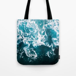Blue Wave Network – Minimalist Oceanscape Photography Tote Bag