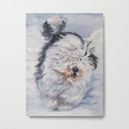 Old English Sheepdog dog art from an original painting by L.A.Shepard Metal Print