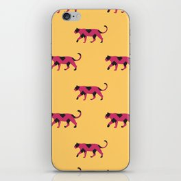 Black and Pink Tiger Stripes on a Yellow Background iPhone Skin