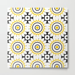 The Sun Moroccan Tiles Pattern Yellow Metal Print