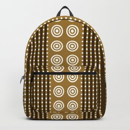Retro Stripes & Circles in Brown Earth Tones Backpack