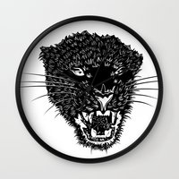 panther Wall Clocks featuring Panther by Pavel Lipcean