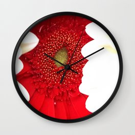 Red and White Dahlias Wall Clock