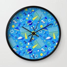 80's Postmodern Hanukkah Celebration Wall Clock