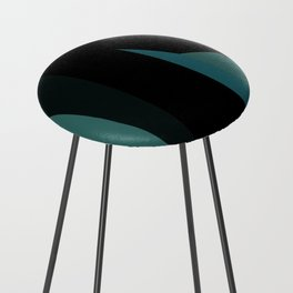 teal and black abstract Counter Stool
