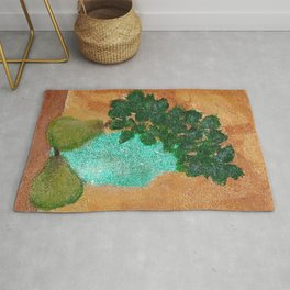 Pears And Plant Still Life Rug