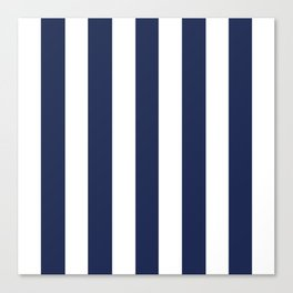 Space cadet blue - solid color - white vertical lines pattern Canvas Print