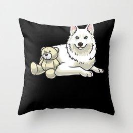 Yakutian Laika Dog With stuffed animal Throw Pillow