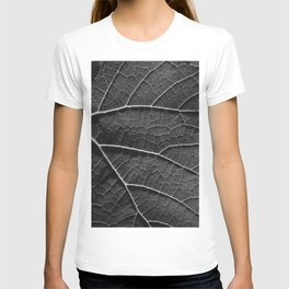 Leaf in black and white T-shirt