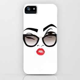 Wink eye, red lips iPhone Case