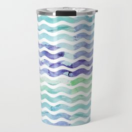 Modern teal blue watercolor hand painted waves Travel Mug