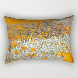Babies Breath and Golden Poppies of California by Reay of Light Photography Rectangular Pillow