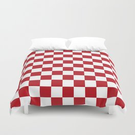 Retro Red and White Checkerboard Duvet Cover