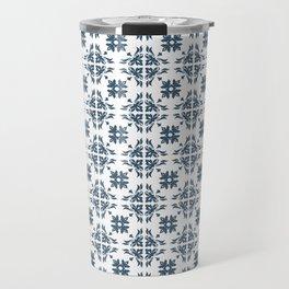 Dusky Blue Flower Flourish Pattern Travel Mug