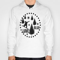 snowboard Hoodies featuring Forest Snowboard Love Blue by Patti Friday